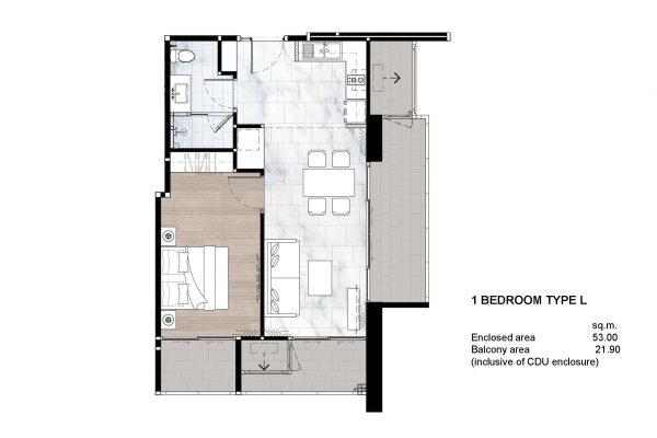 1 Bedroom Type L