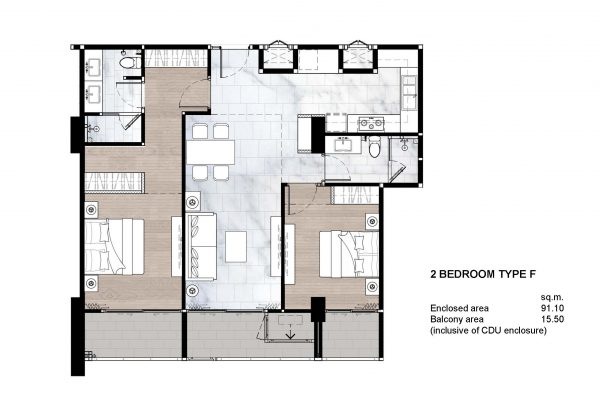 2 bedroom type F