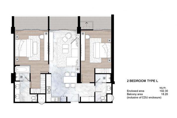 2 bedroom type L
